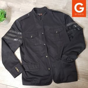 G by Guess mens black military jacket with stripes